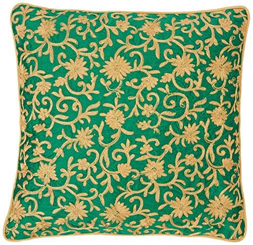 the-indian-promenade-16-x-16-inch-dupion-silk-zari-work-cushion-cover-green