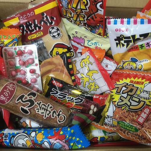 Dagashi Kasten Japanische Snacks 60pcs Umaibo Süßigkeit Gumi Kartoffelchip Kitty Schokolade mit AKIBA-KING Aufkleber -