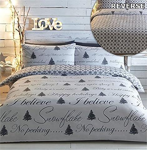 Weihnachtsbaum, Bettbezug & 2Kissenbezüge Bettwäsche-Set grau weiß Weihnachts Erwachsene (Festliche Zitate Für Weihnachten)