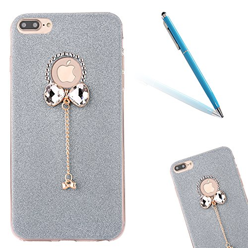 "iPhone 7Plus Handyhülle, iPhone 7Plus Tasche, CLTPY Elegante Sparkly Series Slim Fit Silikon Cover, Kreativ Bling Diamant Bowknot Design Abdeckung für 5.5"" Apple iPhone 7Plus (Nicht iPhone 7) + 1 x St Blau 1"