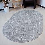 Teppich Designer Kelim Kilim in Grau Oval und Rund rutschfest waschbar für Bad Flur Küche Badteppich (Rund 120cm x 120cm)