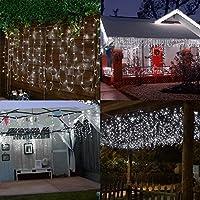 Ndier Cortina de luces LED, 3 * 3M 300LEDs luces de Navidad al aire libre con 8 modelos de lluminación, impermeable IP44 para Decoración de Ventanas,la decoración de fiestas,bodas (blanco)