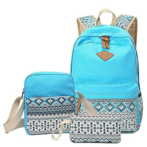3-in-1 School Bags Girls Backpack Set, Causal Daypacks + Shoulder Bag + Pencil Pouch for Teens (Light Blue)