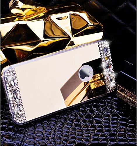Custodia iPhone 5S,Custodia iPhone SE,Custodia Cover per iPhone 5S/iPhone SE, ikasus® Placcatura Lucido di cristallo di scintillio strass Diamante Glitter placcatura caso con specchio Strass iPhone 5S Oro
