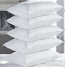 """PumPum Hollow Fibre Filled 5 Piece Pillow Set - 17"""" x 27"""", Antique White"""