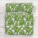Completo Lenzuola 100% Cotone - Disegno Tropic Foglie Tropicali (Matrimoniale)