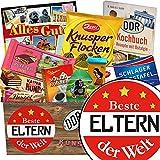 Beste Eltern der Welt | Schokoladen Paket | Geschenk Ideen | Beste Eltern der Welt | Schokoladenbox | Geschenk Eltern Hochzeitstag | INKL DDR Kochbuch