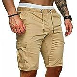 Dazzerake Pantaloni Corti Sportivi Cargo da Uomo Estivi Bermuda da Pantaloncini Casual Slim Fit Solidi con Vita Elastica