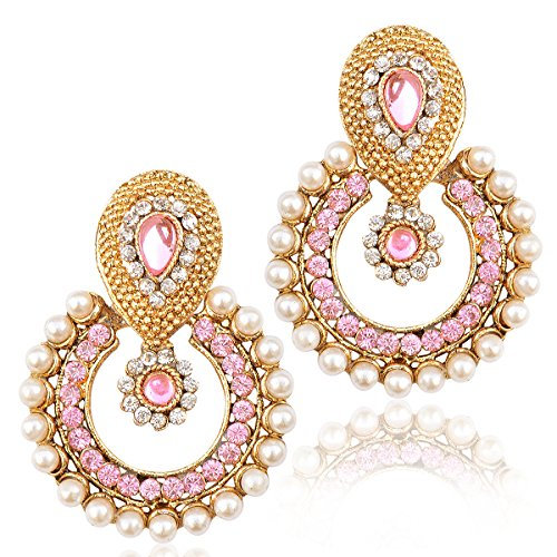 Dancing Girl Kundans Polki Light Pink Metal Alloy Dangler Drop Earrings For Women