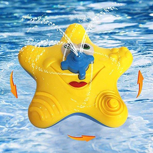 Badewannenspielzeug, Baby-Starfish-Bad-Spray-Wasser-Spielwaren, elektronischer Schwimmer drehen sich mit Brunnen-Spielwaren Badewannen-Dusche-Pool-Badezimmer-Spielzeug für Säuglings-Kind-Partei (Gelb) (Kleinkind Dusche Sprayer)
