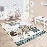 Kinderteppich Kinderzimmer Konturenschnitt Bären Design Creme Braun Pastellfarben, Grösse:140x200 cm