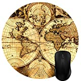 Luckcac Round Mouse Pad Customized Design, Vintage Ancient Old World Map