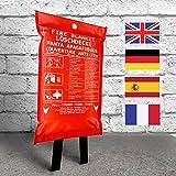 Löschdecke, 120 x 120 cm große Feuerlöschdecke, DIN EN 1869 Brandschutzdecke für Zuhause & Freizeit. 100% Glasfaser in roter Schutzhülle. Sofort-Hilfe. Test
