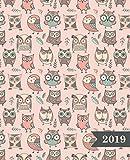 Wochenplaner 2019: Terminplaner & Wochenkalender: 19 x 23 cm: süße Eulen auf Pfirsich 6699