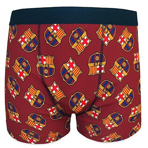 FC Barcelona - Calzoncillos oficiales de estilo bóxer - Para hombre - Con el escudo del club - Rojo - Small