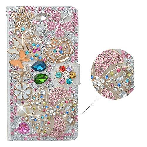 Preisvergleich Produktbild spritech (TM) 3D Handmade Pure Pink Kristall Blume Colorful Schmetterling Loving Herz Diamant Design Leder Wallet, Weiß, Samsung Galaxy Mega 6.3 i9200