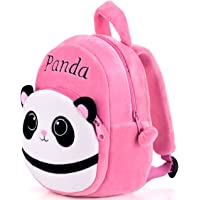 DZert Kids School Bag Soft Plush Backpacks Cartoon Boys Girls Baby (2-5 Years) (.Panda Pink)