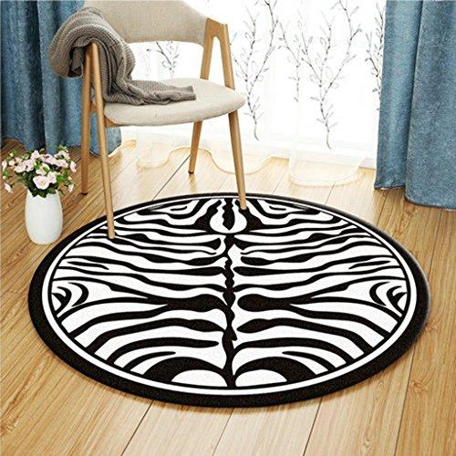Zhang xiao hong shop tappeto da salotto rotondo modello zebrato bianco e nero morbido, comodo, indossabile, facile da pulire (size : 140 cm diameter)