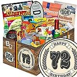 Geburtstagsgeschenk 72. | 24x Allerlei | DDR Box | Geschenke zum 72 Geburtstag Männer | mit Viba, Pfeffi, Liebesperlen und mehr