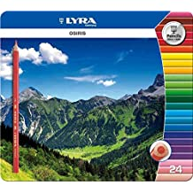 LYRA OSIRIS COLOURING PENCILS GIFT TIN - Triangular Shape, Anti-Break Leads - GIFT TIN of 24