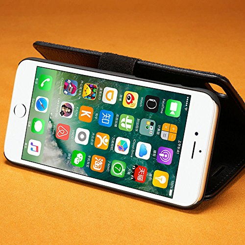 iPhone 5 5S SE, custodia e portafoglio , sfoderabile custodia Protettiva copertura eccellente in pelle , magnetica rimovibile retrò custodia Grigio Nero
