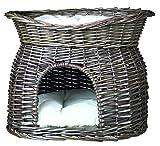 Trixie en osier pour chat avec sur le dessus de lit et coussins, 54x 43x 37cm, gris