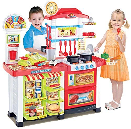 Ultimar Kinderküche mit Super-Markt Shop - Moderne Küche mit Licht, Ton, Wasserkocher und viel Zubehör, Meine erste Küche, Spielküche - Mobile Markt mit viel Zubehör, Verkaufsstand, großen Markt