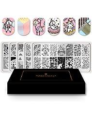 Born Pretty 5Pcs Nail Art Stamping Plates Set Poetry Animal Strip Dreamlike Love Pattern Animal Manicure Print Image Templates