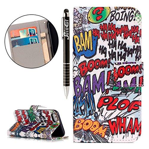 iPhone 7 Hülle,iPhone 7 Ledertasche Handyhülle Brieftasche im BookStyle,SainCat PU Leder Hülle Wallet Case Folio Schutzhülle Karikatur Muster [Pink Butterfly] Lederhülle Scratch Bumper Handytasche Bac Cartoon Graffiti