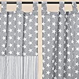 Vorhang Schlaufenschal Gardine Stern Streifen Baumwolle grau weiss 240*140cm (Streifen) 1460100