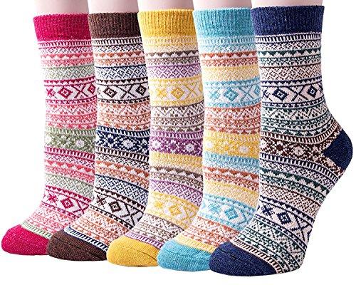 Vellette Damen Wintersocken Crew Socken Norwegersocken warme Kuschel Socken Uni Farben Sortiert Gr.35-40 (5 Paar) (Für Chenille-socken Frauen)