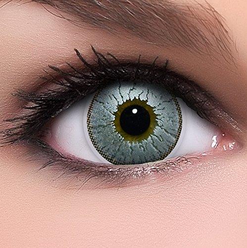Linsenfinder Lenzera Circle Lenses silber 'Silver Glitter' ohne Stärke + Kombilösung + Behälter 14,50mm farbige Kontaktlinsen