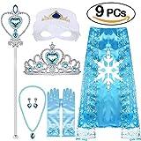 VAMEI Princesa Elsa Viste a Tiara Trenza Varita Capa Máscara Guantes Azules Conjunto Niñas Fiesta Cosplay Accesorios (Elsa B)