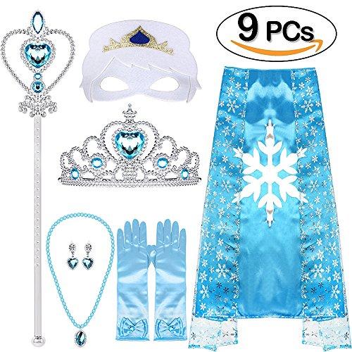 VAMEI Mädchen Prinzessin ELSA Kostüm, Tiara, Zopf, Zauberstab, Umhang, Maske, Blau Handschuhe, 9 Set Mädchen Party Cosplay Accessoires, (Blau)
