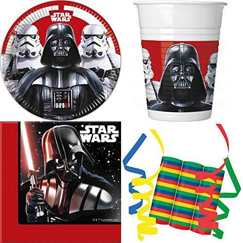 JT-Lizenzen Star Wars Final Battle 39-teiliges Kindergeburtstag Party Deko Set Basis Motto Fete Feier 8 Teller, 8 Becher, 20 Servietten, 3 Rollen Luftschlangen