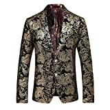 Men's Luxury Casual Velvet Dress Suit Slim Fit Floral Prints Stylish Blazer Coats Chic Jackets, Golden, L