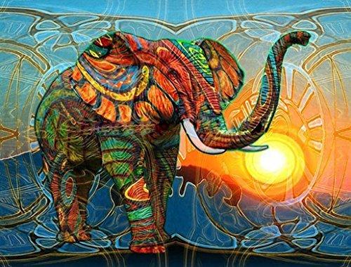 DIY Digital Leinwand-Ölgemälde Geschenk für Erwachsene Kinder Malen Nach Zahlen Kits Home Haus Dekor - Elefant 40*50 cm (Malerei-kit Für Anfänger)