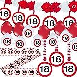 Carpeta 23-tlg. Partyset * 18. Geburtstag * mit Verkehrschild Deko: Girlande + Rotorspiralen + Absperrband und Vielen Luftballons Dekoset Dekobox Verkehrsschild