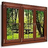 BOIKAL XXLF48-4 3D Effekt Bilder Fensterblick Deko Wandbild fertig gerahmt! Leinwand glanz! Kunstdruck Wald, Bäume, Bank