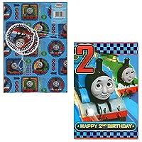 Thomas The Tank Engine Gift Wrap + Age 2 Birthday Card set