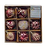 Set di nove rosa scuro e oro palline per albero di Natale (6cm)