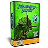 Discover with Dr. Cool Triceratops Dinosaur Dig Kit –Excavate 3 Real Dino Fossils!