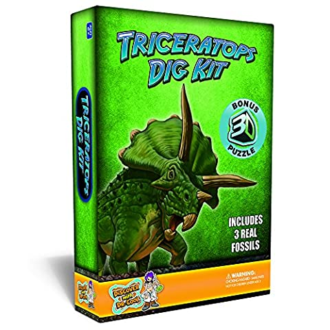 Triceratops Dinosaur Dig Kit –Excavate 3 Real Dino Fossils!