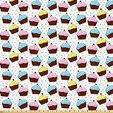 ABAKUHAUS Cupcake Microfaser Stoff als Meterware, Bunte