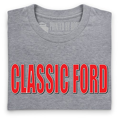 Classic Ford Red Logo T-Shirt, Herren Grau Meliert