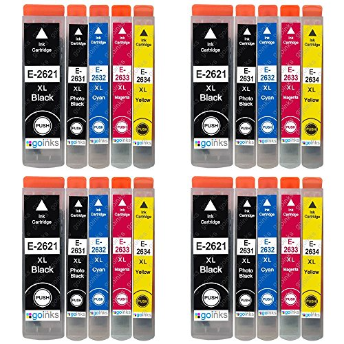 4 Go Inks Set of 4 + extra Black Ink Cartridges to replace Epson T2636 (26XL Series) Compatible/non-OEM for Epson Expression Premium Printers (20 Inks)
