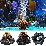 Dairyshop Aquarium Volcano Shape & Air Bubble Stone Oxygen Pump Fish Tank Ornament Decor