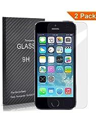 [2 Pack] FEtech iphone SE 5/5S/5C Film Protection en Verre trempé écran protecteur ultra résistant Glass Screen Protector pour iphone SE/5/5S/5C