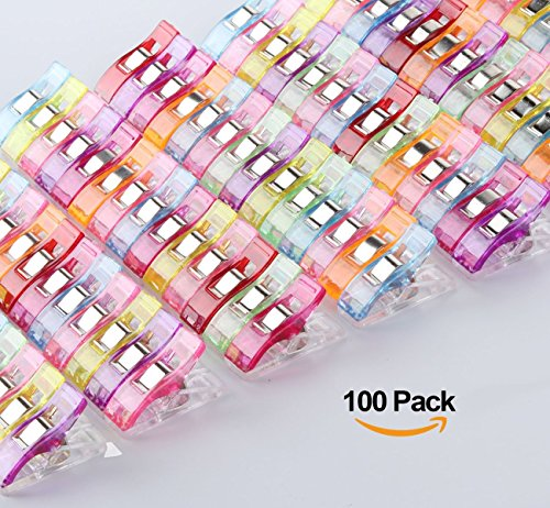 ilauke 100PCS Pince Clips Couture en Plastique pour Reliure Patchwork Crochet Tricot Artisanat Couleurs Assorties