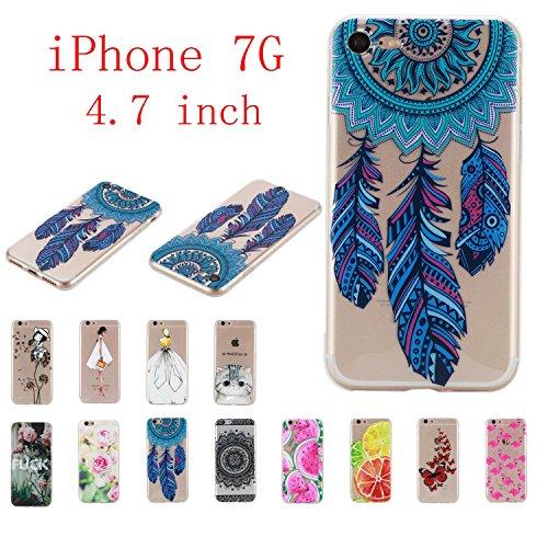 Qiaogle Telefon Case - Weiche TPU Case Silikon Schutzhülle Cover für Apple iPhone 5 / 5G / 5S / 5SE (4.0 Zoll) - HX51 / Ostrich + Flower HX23 / Schwarze Spitzeblume